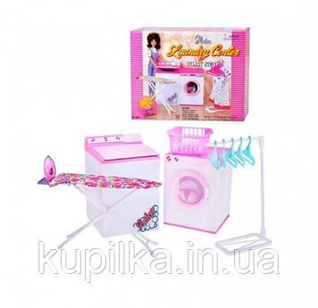 Игрушечный набор для куколки Gloria Прачечная 96001 со стиральной машинкой, гладильной доской и аксессуарами
