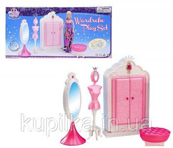 """Кукольная мебель Gloria """"Гардероб"""" 1209 в комплекте шкаф, пуфик, зеркало, манекен и аксессуары"""