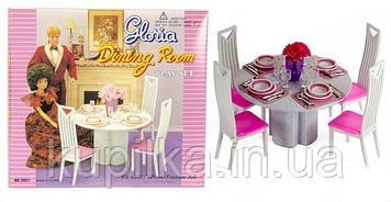 """Мебель игрушечная для кукол Глория Gloria """"Столовая"""" 94011, в комплекте со столом, стульями и аксессуарами"""