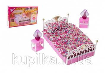 """Игровой набор мебели для кукол высотой 29 см Gloria """"Спальня"""" 99001, с большой кроватью и тумбочками"""