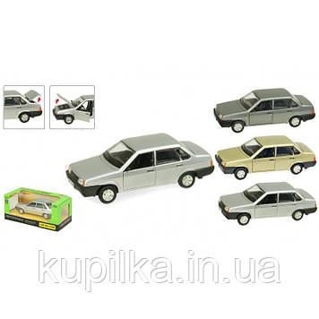 Металлическая машинка с звуком ВАЗ-21099 Автопром (масштаб 1:22) открываются двери, капот и багажник (3 вида)