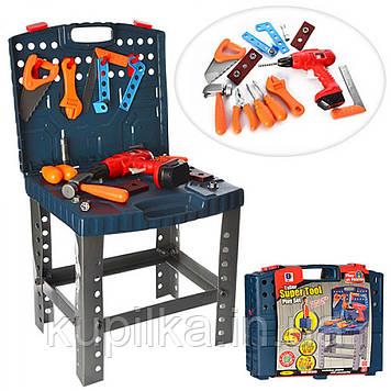 Детский игровой набор инструментов 661-74, верстак, дрель-механическая с вращающимся сверлом, 50 предметов