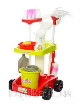 Игрушечный набор для уборки Маленькая помощница 667-34-36, с тележкой, инвентарем для уборки