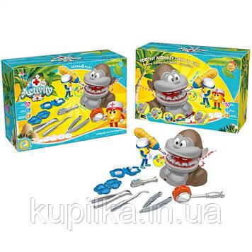 """Детский игровой набор с тестом для лепки """"Дантист"""" обезьяна с дрелью на батарейках и инструментами DR002"""