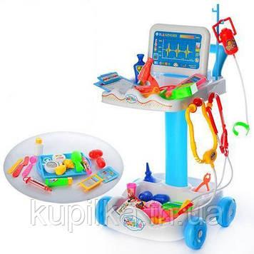 Детский игровой набор-тележка Умелый доктор 606-1 в комплекте медицинские принадлежности, синий