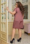 Літній костюм жіночий Шорти і футболка Стрейч льон Розмір 50 52 54 56 58 60 62 64 В наявності 4 кольори, фото 6