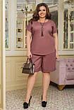 Літній костюм жіночий Шорти і футболка Стрейч льон Розмір 50 52 54 56 58 60 62 64 В наявності 4 кольори, фото 8
