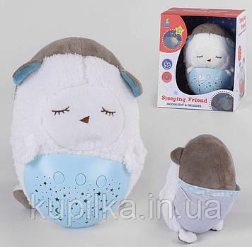 Ночник мягкая игрушка с проектором звездного неба Овечка JLD 333-39 A, для детей с рождения, музыкальный