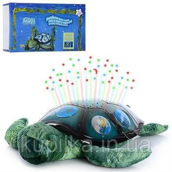 Детский мягкий ночник светильник Спящая черепаха YJ 3 с проектором звездного неба, работает от батареек