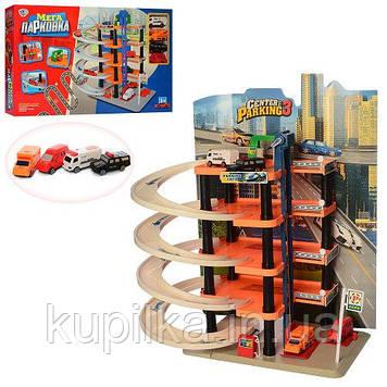 Игровой пятиэтажный гараж-паркинг для ребенка с винтовым спуском и четырьмя машинками 0848