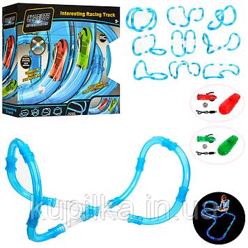 Детский автотрек трубопроводный 022-4 на радиоуправлении и в световых эффектах (52 элемента)
