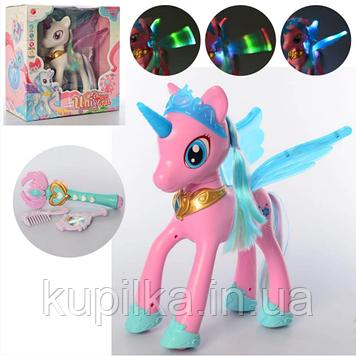 Детская игрушка пони с крылышками со световыми и звуковыми эффектами C 9, с аксессуарами (2 вида)