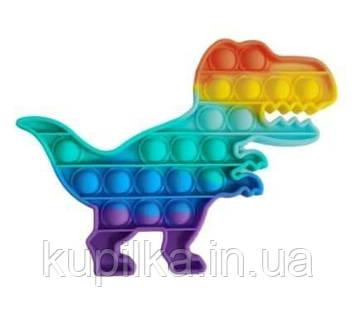 Игрушка сенсорная, антистресс, силиконовые шарики Bubble Pop It Поп Ит, разноцветный Динозавр