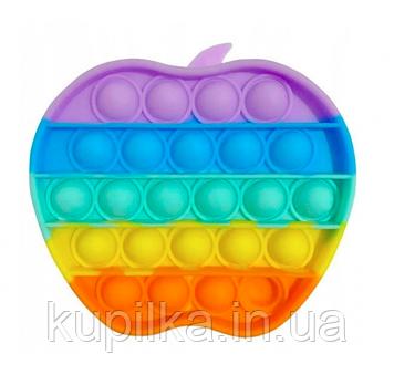 Сенсорная Поп Ит, антистресс игрушка Pop it «Яблоко радуга», резиновые пупырышки