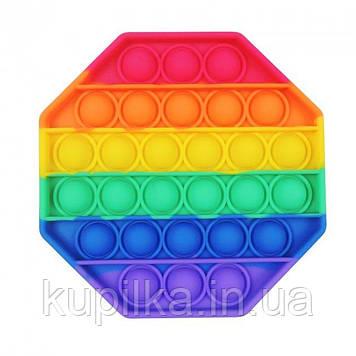 Антистресс, резиновые пупырки Pop It, Восьмиугольник разноцветный силиконовый Поп Ит, Push Up Bubble