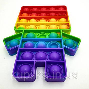 Поп ит силиконовый антистресс, разноцветный Fidget человечек радуга, Pop It (размер 15*10 см)