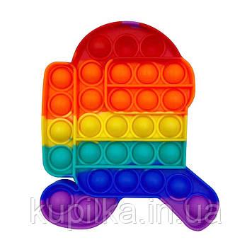 Поп ит силиконовый антистресс, разноцветный Among Us радужный, Pop It (размер 16*12 см)