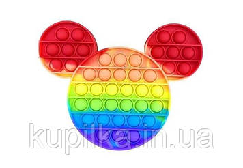 Поп ит силиконовый антистресс, разноцветный Микки Маус радужный, Pop It (размер 20*15 см)