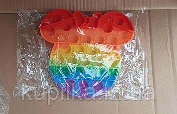 Поп ит Pop It силиконовый антистресс Микки с бантиком радужный Bubble Famly Games (размер 16*14 см)