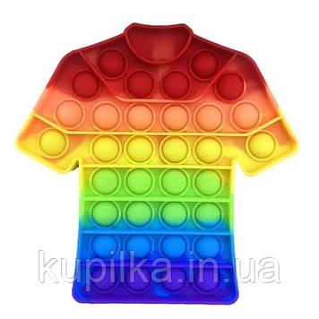 Поп ит силиконовый антистресс, разноцветный, радужная Футболка Pop It (размер 17*17 см)