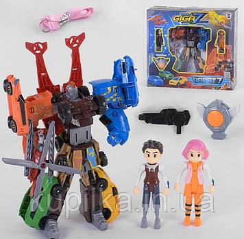 Детский робот машинка Трансформер для мальчика с двумя фигурками героев, амулетом и оружием Q 1918 GIGA7
