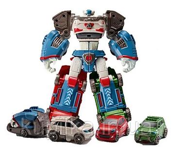 Робот-трансформер 520 для мальчика разбирается в прицеп и 3 машинки
