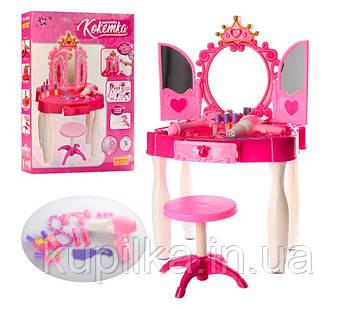 Трюмо детское игрушечное с зеркалом, со стульчиком и аксессуарами 661-21