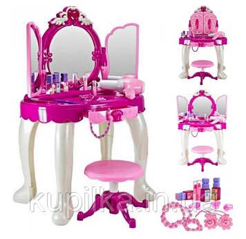 Трюмо туалетный столик с зеркалом и аксессуарами 008-19, световые и звуковые эффекты, фен на батарейках