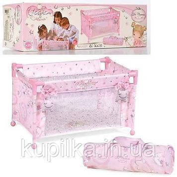 Игрушечная, металлическая детская кроватка-манеж для куклы с сумкой переноской 50034, цвет розовый