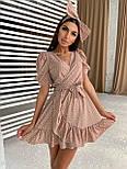 Коротке плаття на запах в горошок з воланами і бантом (р. S, M) 66032498Е, фото 2