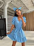 Коротке плаття на запах в горошок з воланами і бантом (р. S, M) 66032498Е, фото 6