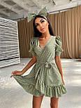 Коротке плаття на запах в горошок з воланами і бантом (р. S, M) 66032498Е, фото 7