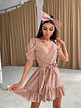 Коротке плаття на запах в горошок з воланами і бантом (р. S, M) 66032498Е, фото 9