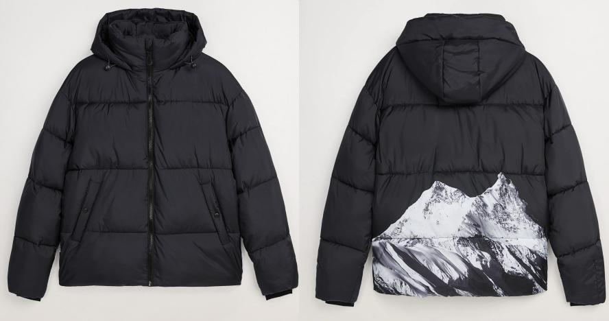 Тепла зимова чоловіча куртка з принтом ZARA Зара (Розмір XL) Оригінал