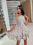 Летнее платье в цветочный принт с расклешенной юбкой и открытыми плечами (р. S, M) 66032499Е, фото 4