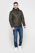 Стильная мужская демисезонная куртка с капюшоном, тёмный хаки