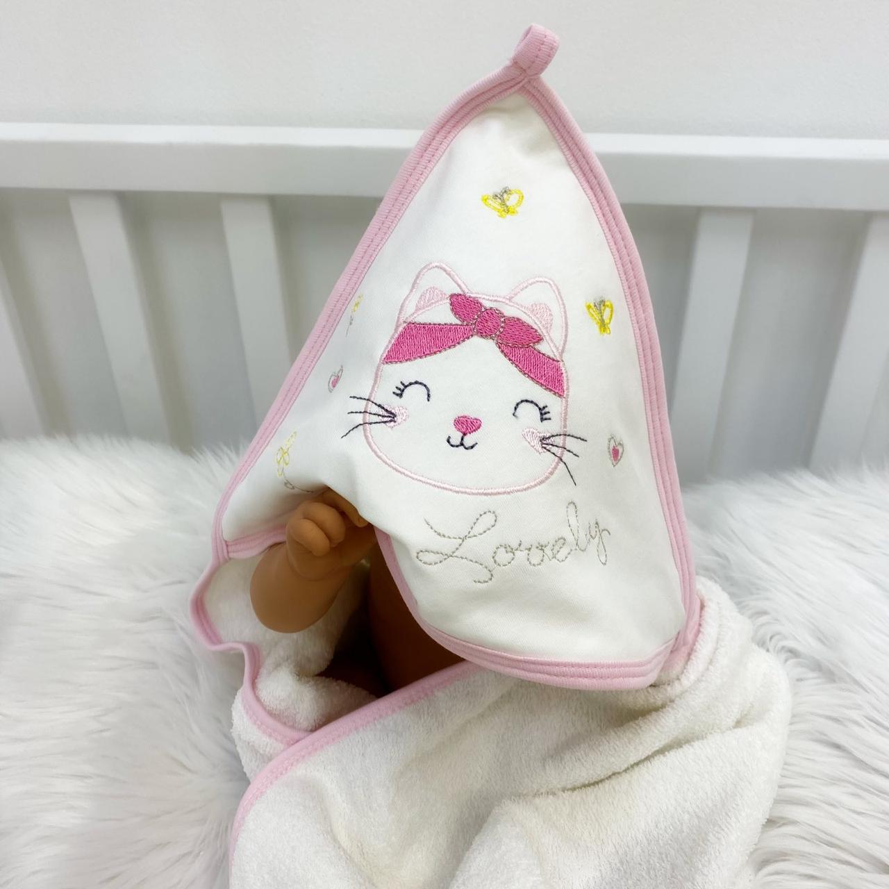 Рушник-куточок махровий Котик з малиновою пов'язкою з 100% бавовни, 90*80 см