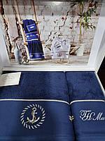 Набор полотенец Tivolyo Home Anchor синий в коробке двойка(баня,лицо)