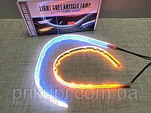 Ходовые огни с бегущим поворотом (ДХО белый наборной + бегущий желтый) 2шт по 45см в термоусадке плоские на, фото 3