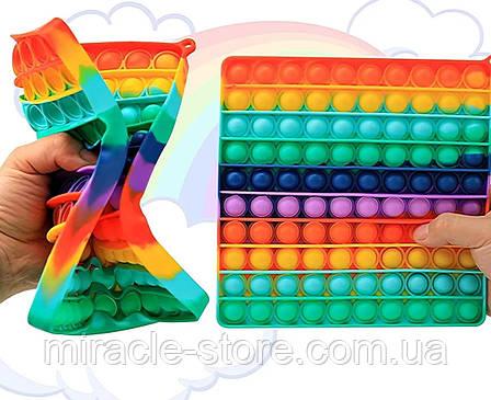 Сенсорна іграшка Pop It поп іт великий антистрес сімпл дімпл Simple Dimple райдужний, фото 2