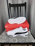 Женские кроссовки Puma Cali Bold White Black белые с черным Кроссы Пума Кали в белом цвете повседневные, фото 10