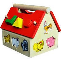 Домик деревянный - игрушка сортер, домик сортер деревянный теремок, домик сортировщик