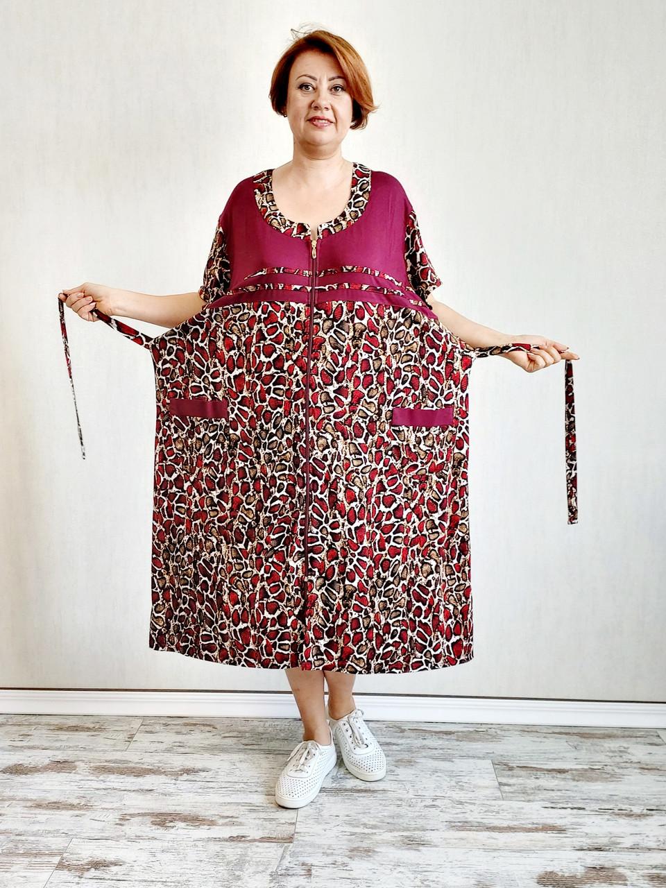 Річний халат великого розміру віскоза