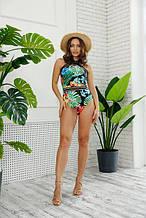 Женский слитный купальник тропик с резинками.Копия Victoria's Secret