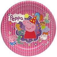 """Тарілки """"Свинка Пеппа"""" смугаста. Розмір: 18см. В упак: 10шт."""