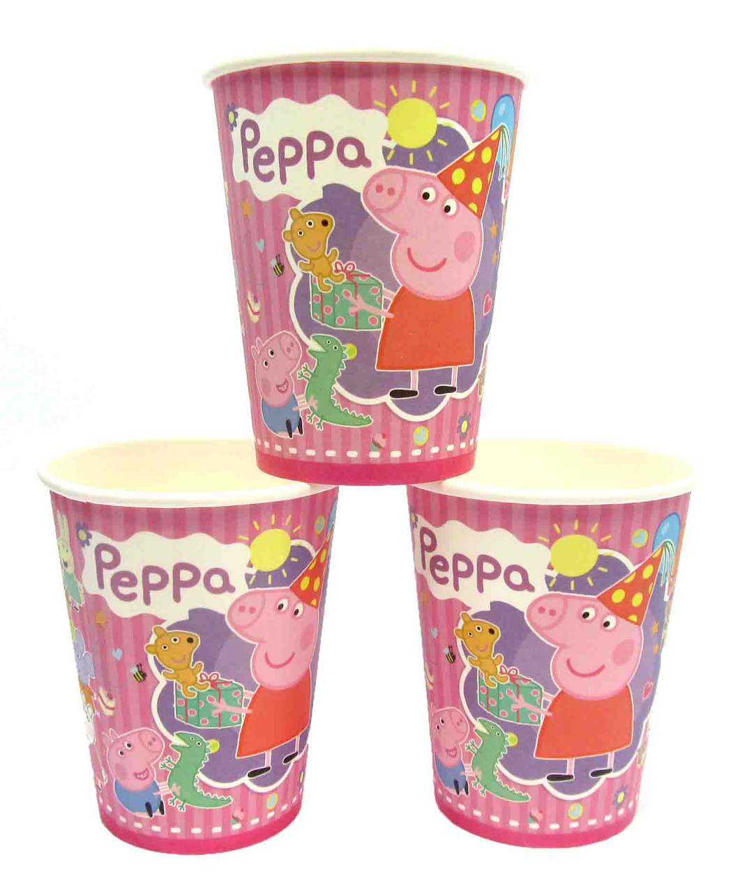 """Стаканчики """"Свинка Пеппа"""" полосатая. Объём-250мл. В упак:10 шт."""