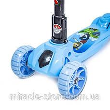 Дитячий самокат MINI для хлопчиків від 2-х років Світяться колеса Різні мультицвета 038В, фото 3