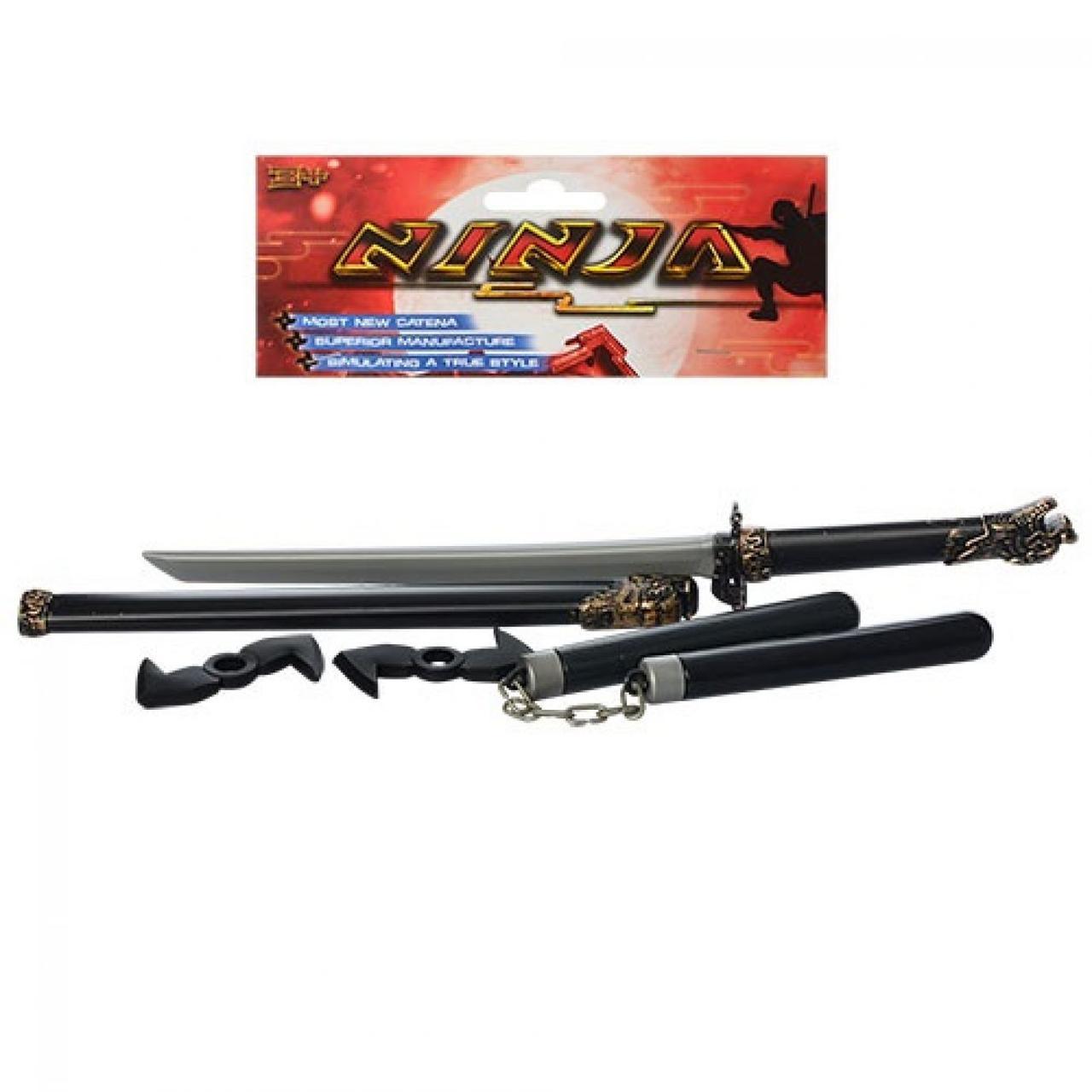 Набір ніндзя: меч 60см,нунчаки,сюрикен 2шт,в кульку,15х67х4см №1723(120)
