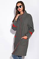 Пальто женское с контрастной строчкой 130P003 (Серо-красный), фото 1