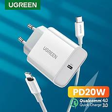 Універсальний зарядний пристрій UGREEN CD137 USB-C 20 вт Power Delivery 3.0 Qualcomm Quick Charge 4.0 White, фото 2